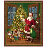 Christmas Eve Santa Fabric Panel - 36in